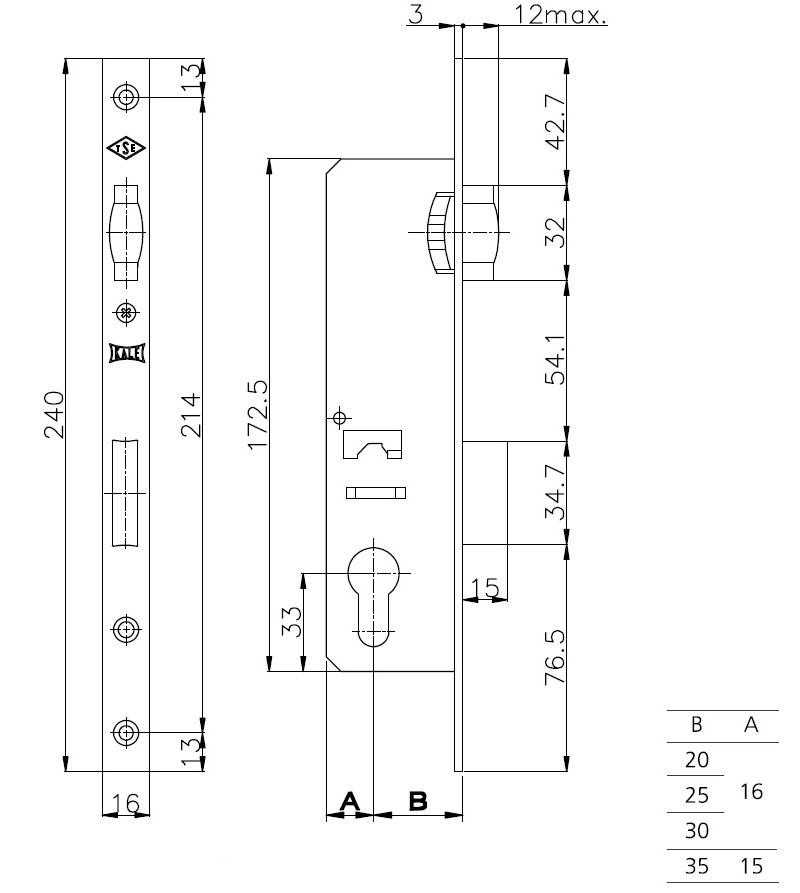 Корпус узкопрофильного замка с роликовой защёлкой 155/P (35 mm) w/b (хром) (без отв. планки)