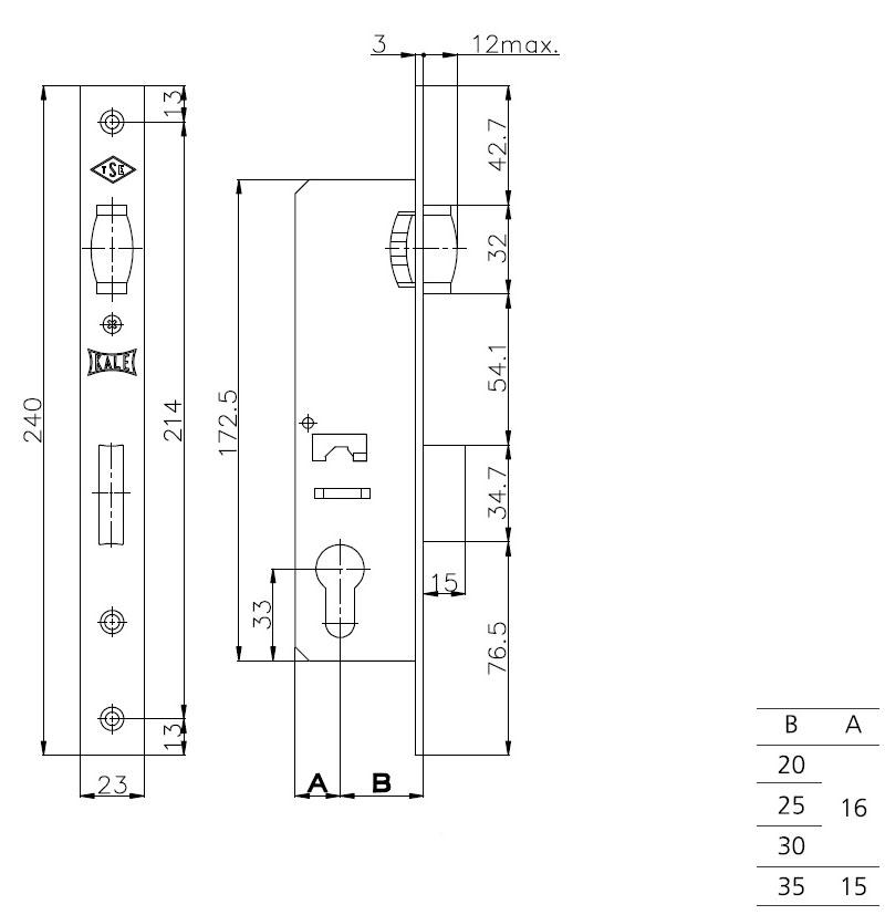 Корпус узкопрофильного замка с роликовой защёлкой 155 (35 mm) w/b (никель)