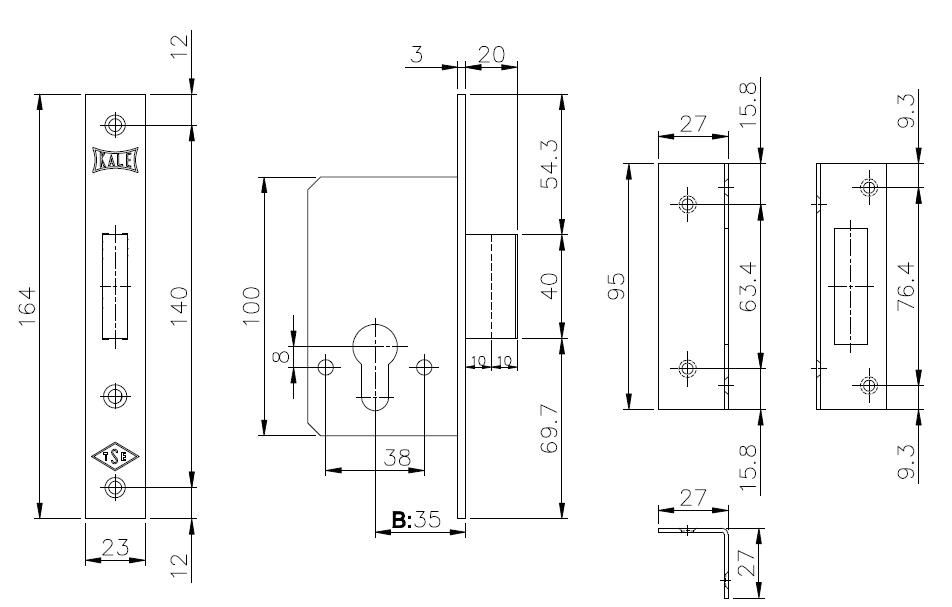 Корпус врезного замка 157 (35 mm) w/b (латунь)