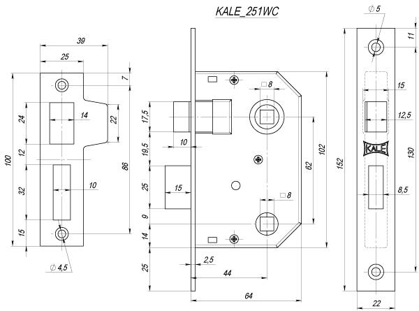 Защелка врезная 251 WC (44 mm) (латунь)