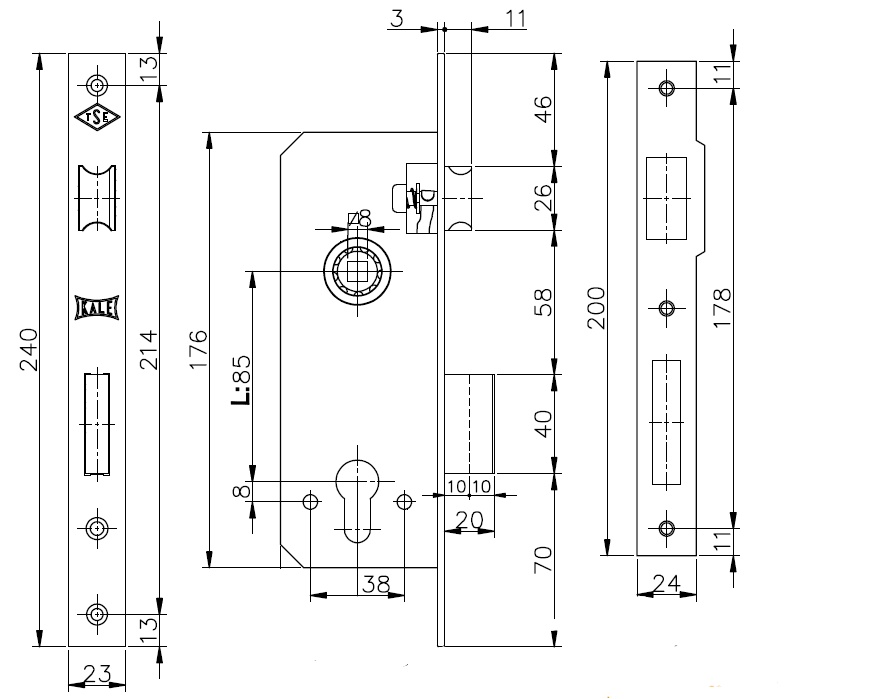 Корпус врезного замка с защёлкой 152/R (35 mm) w/b (латунь)