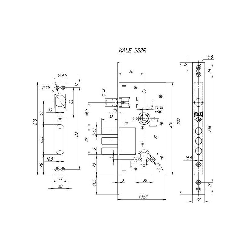 Корпус врезного цилиндрового замка с защёлкой 252/R w/b