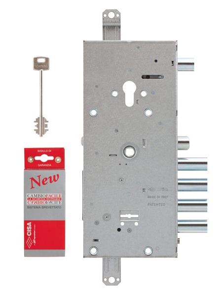 Замок врезной двухсистемный NEW CAMBIO FACILE 57.966.48 (тех. упаковка), ключ 64 мм