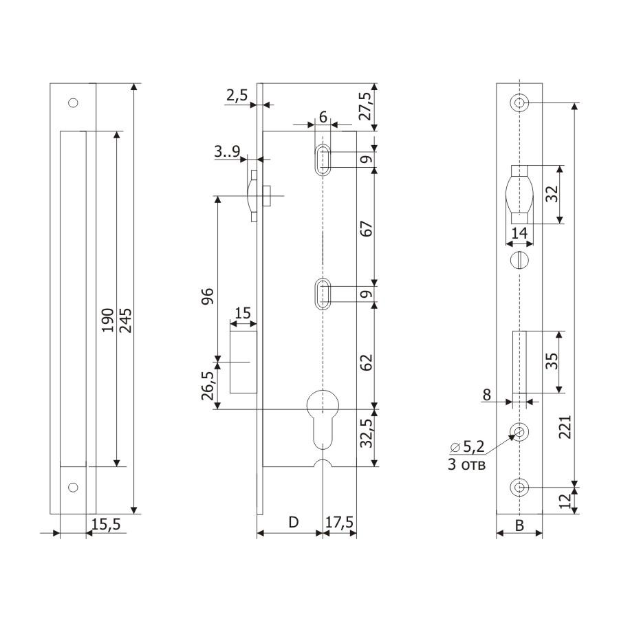 Корпус узкопрофильного замка с регулируемой роликовой защелкой PROFI 25.11P.16 /123:262/
