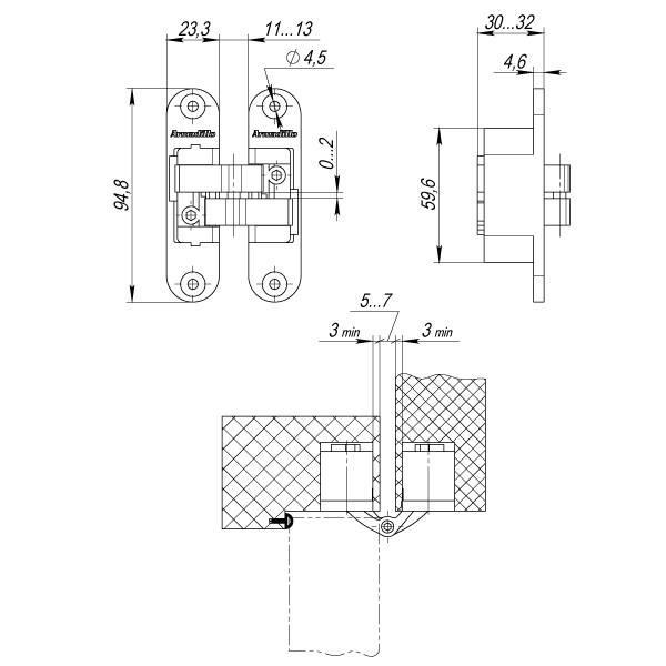 Петля скрытой установки с 3D-регулировкой Architect 3D-ACH 40 AB Бронза лев. 40 кг