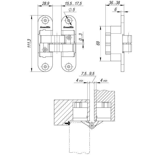 Петля скрытой установки с 3D-регулировкой Architect 3D-ACH 60 CP-8 Хром лев. 60 кг