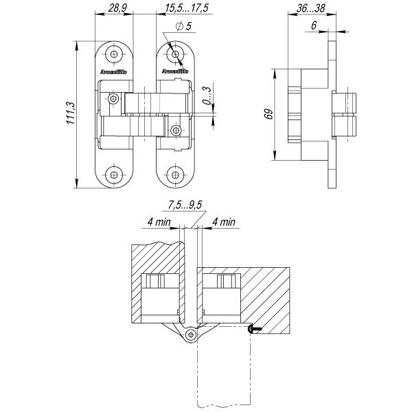 Петля скрытой установки с 3D-регулировкой Architect 3D-ACH 60 CP-8 Хром прав. 60 кг