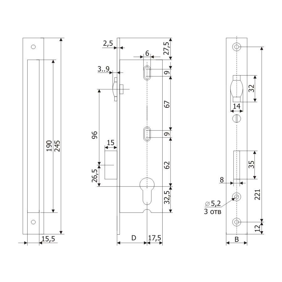 Корпус узкопрофильного замка с регулируемой роликовой защелкой PROFI 30.11P.24 /123:225/