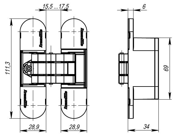 Петля скрытой установки с 3D-регулировкой 11160UN3D (Architect 3D-ACH UNIVERSAL 60) AB Бронза