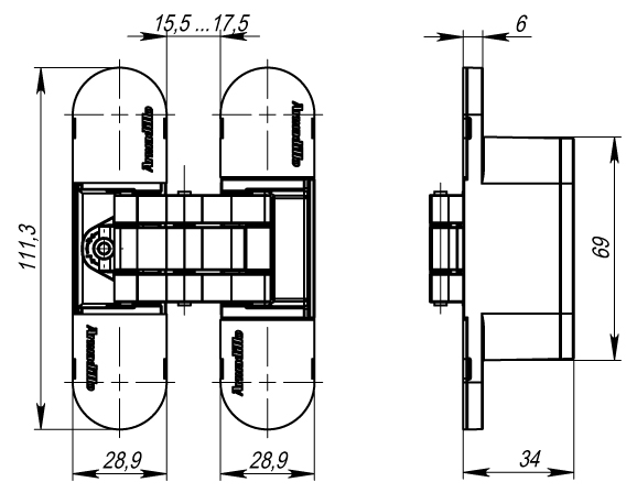 Петля скрытой установки с 3D-регулировкой 11160UN3D (Architect 3D-ACH UNIVERSAL 60) SG Мат золото