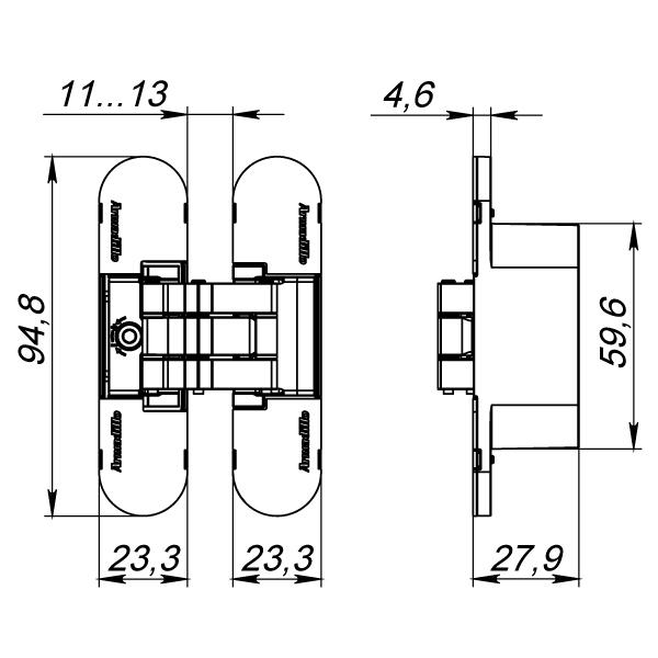 Петля скрытой установки с 3D-регулировкой 9540UN3D AB Бронза