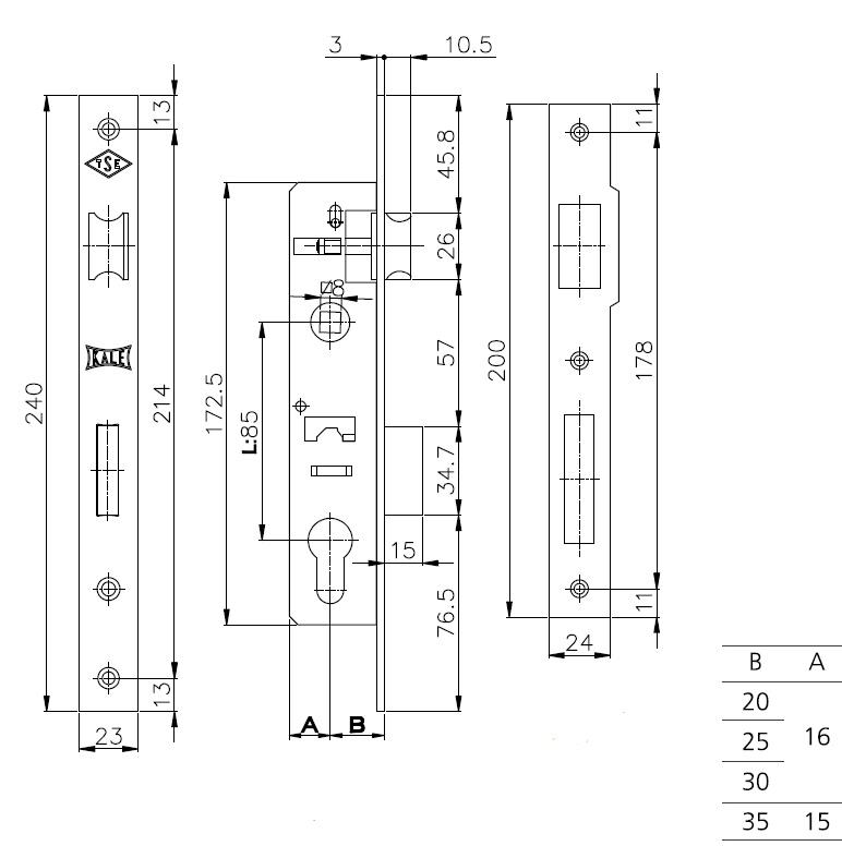 Корпус узкопрофильного замка с защёлкой 153 (20 mm) w/b (никель)