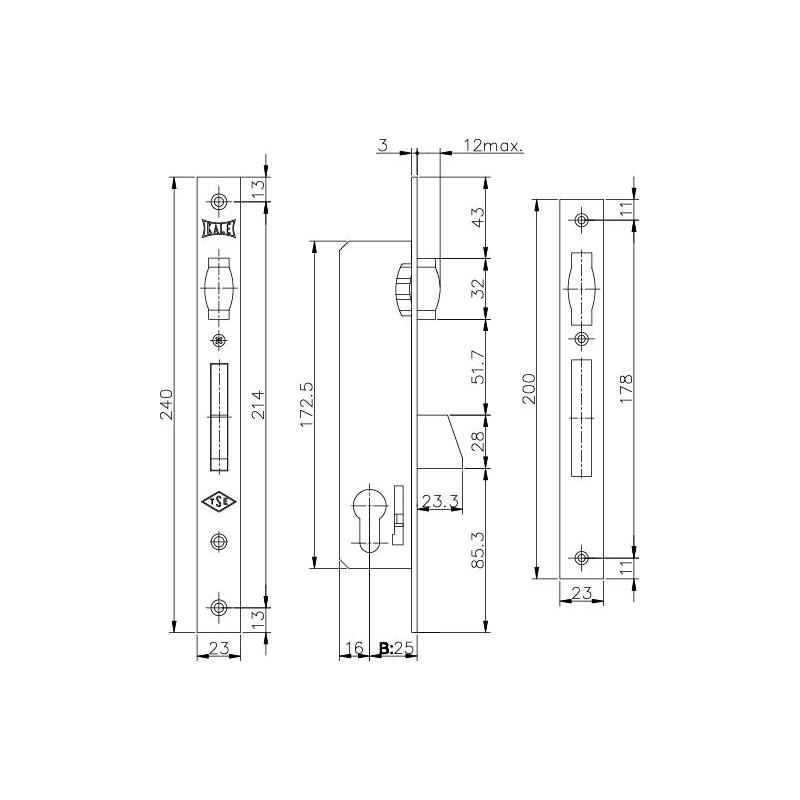 Корпус узкопрофильного замка с роликовой защёлкой 255 (25 mm) w/b (никель)