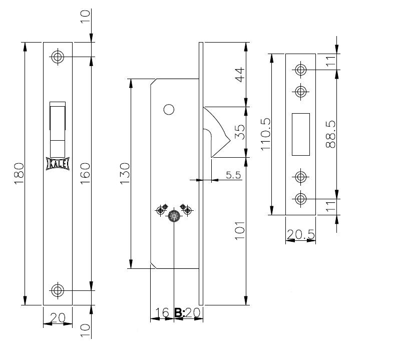 Замок врезной крестообразный узкопрофильный 201F (20 mm) (никель), 3 кл.